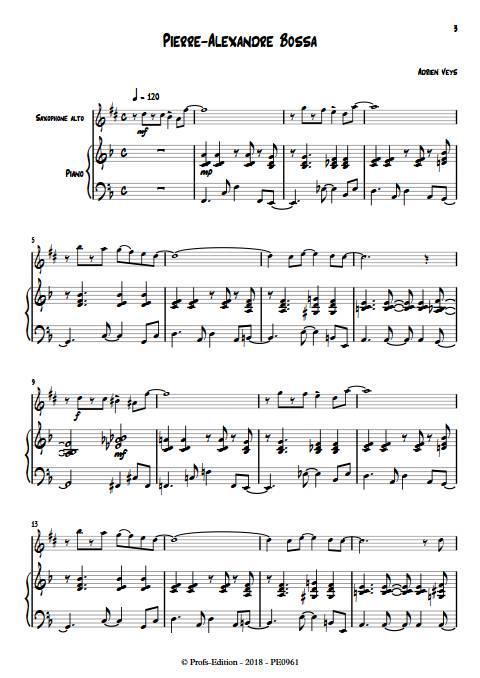 Pierre-Alexandre Bossa - Duo Saxophone Piano - VEYS A. - Partition