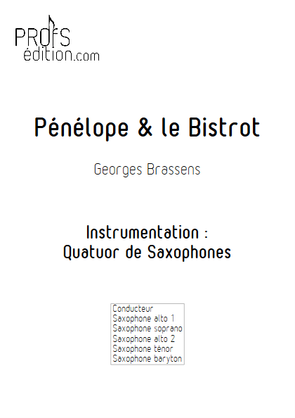 Pénélope & Le Bistrot - Quatuor de Saxophones - BRASSENS G. - page de garde