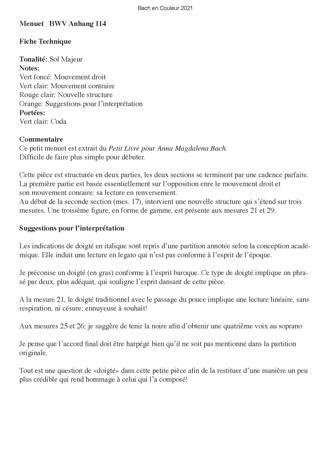 Bach en Couleurs (6 petites pièces) - Analyse Musicale - CHARLIER C. - Fiche Pédagogique