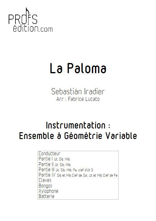 La Paloma - Ensemble Géométrie Variable - IRADIER S. - page de garde