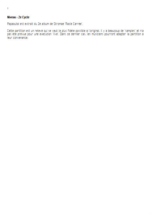 Papaoutai - Relevé Complet - STROMAE - Fiche Pédagogique