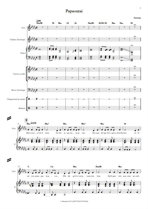 Papaoutai - Relevé Complet - STROMAE - Partition
