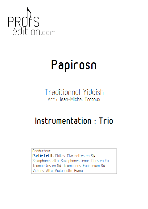 Papirosn - Trio - TRADITIONNEL - page de garde