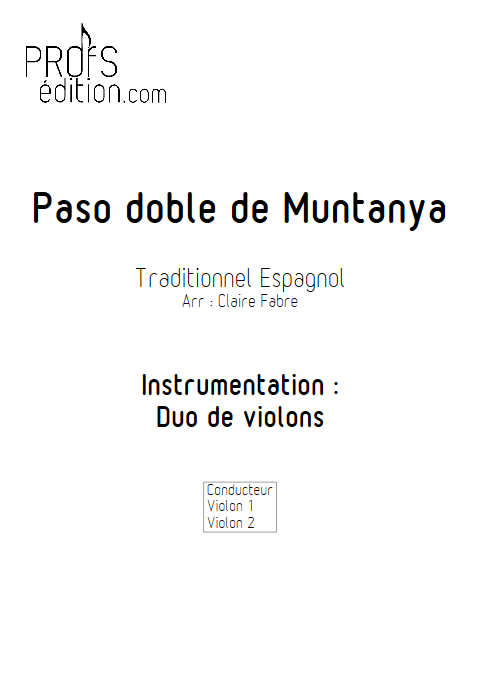 Paso doble de muntanya - Duo Violons - TRADITIONNEL ESPAGNOL - page de garde