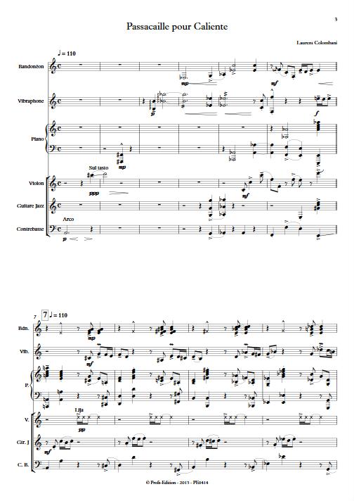 Passacaille pour Caliente - Sextuor - COLOMBANI L. - Partition