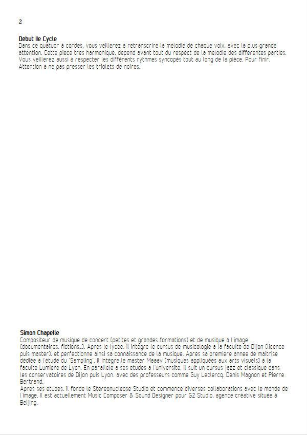 Passage - Quatuor à Cordes - CHAPELLE S. - Fiche Pédagogique