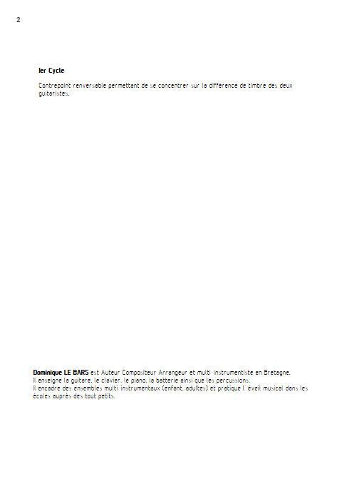 Pastorale - Duos Guitare - LE BARS D. - Fiche Pédagogique