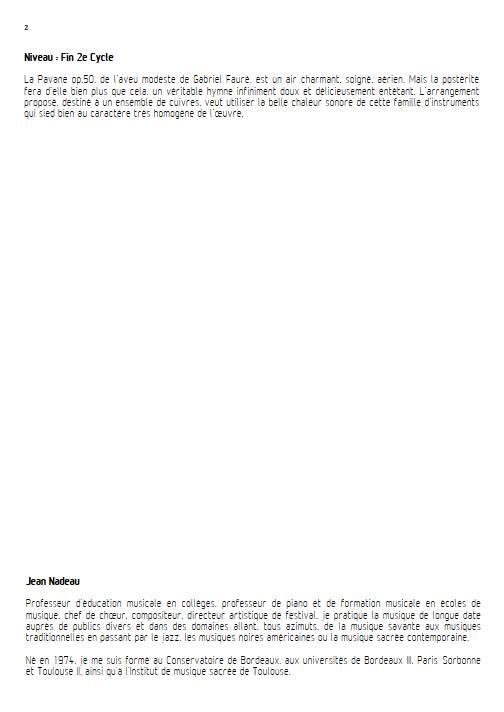 Pavane - Ensemble de Cuivres - FAURE G. - Fiche Pédagogique