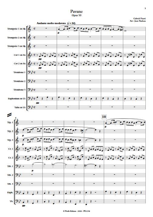 Pavane - Ensemble de Cuivres - FAURE G. - Partition
