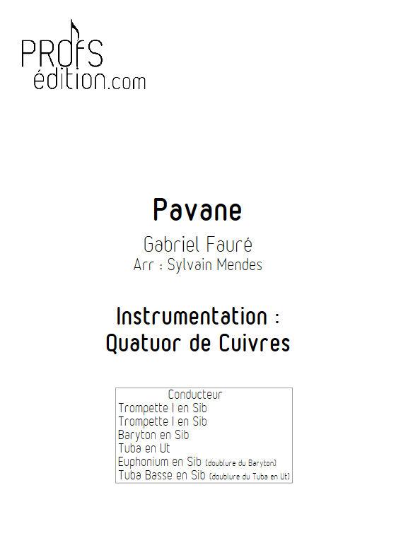 Pavane - Quatuor Cuivres - FAURÉ G. - page de garde
