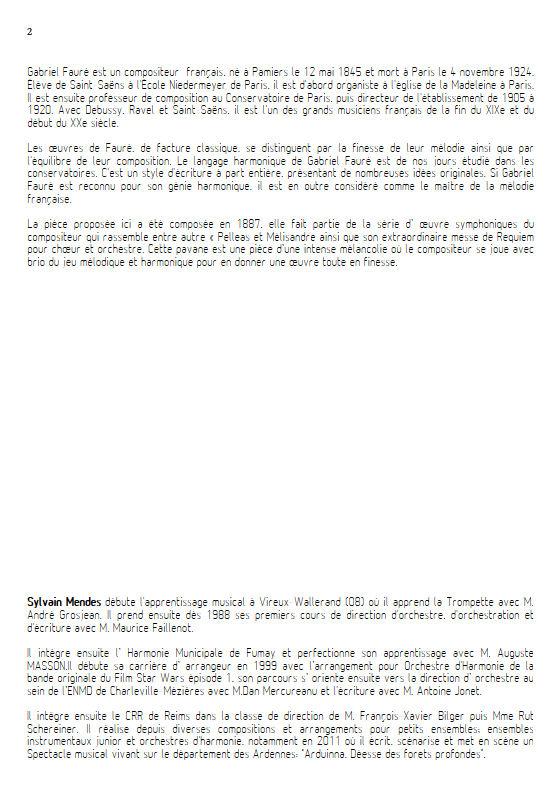 Pavane - Quatuor Cuivres - FAURÉ G. - Fiche Pédagogique