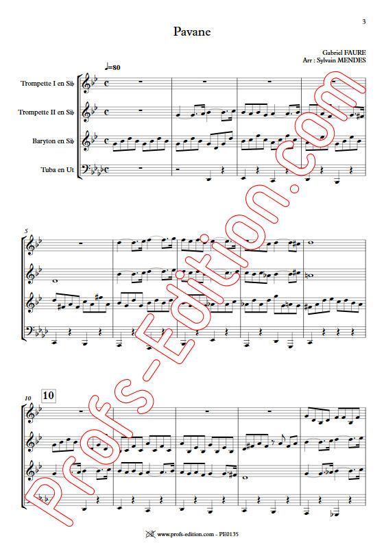 Pavane - Quatuor Cuivres - FAURÉ G. - Partition