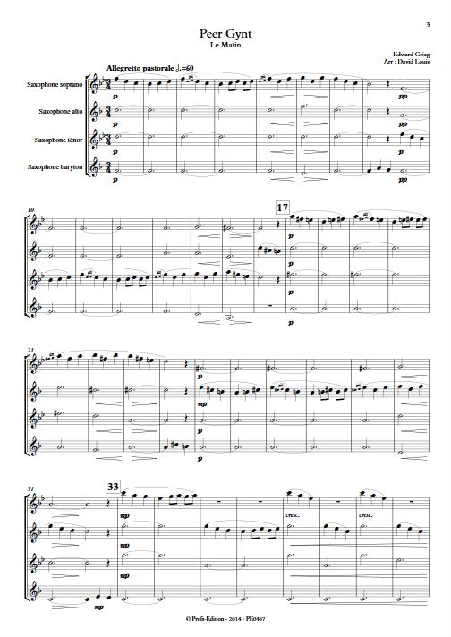 Le Matin (Peer Gynt) - Quatuor de Saxophones - GRIEG E. - Partition