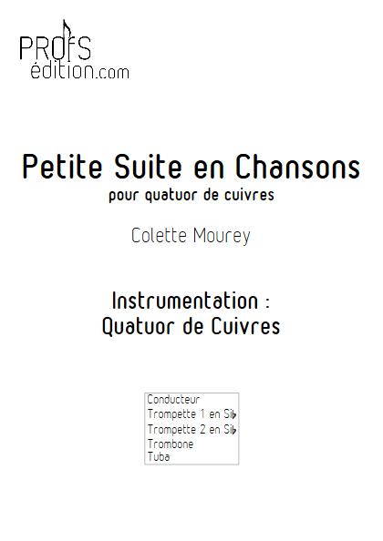 Petite Suite En Chansons - Quatuor de Cuivres - MOUREY C. - page de garde