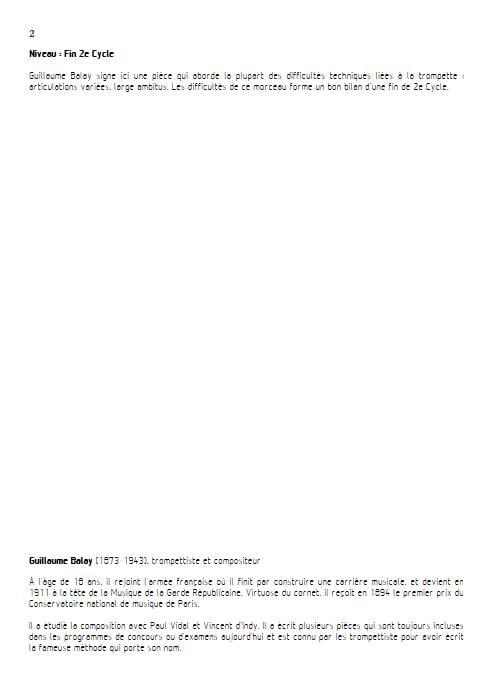 Petite pièce concertante - Trompette et Piano - BALAY G. - Fiche Pédagogique