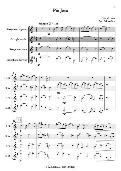 Pie Jesus - Quatuor de Saxophones - FAURE G. - Partition
