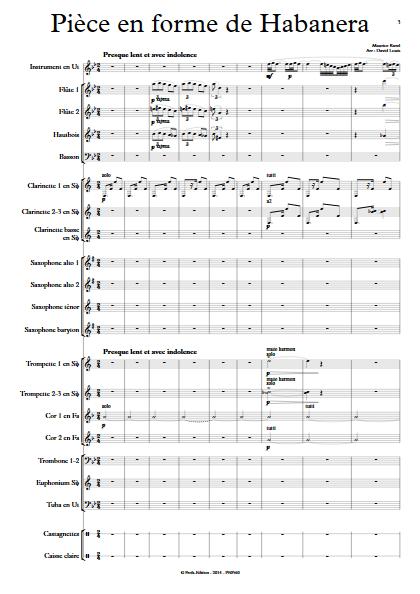 Pièce en forme de Habanera - Orchestre d'Harmonie & Instrument - RAVEL M. - Partition