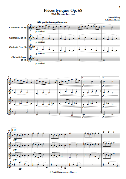 Pièce Lyrique Op.68 - Quatuor de Clarinettes - GRIEG E. - Partition