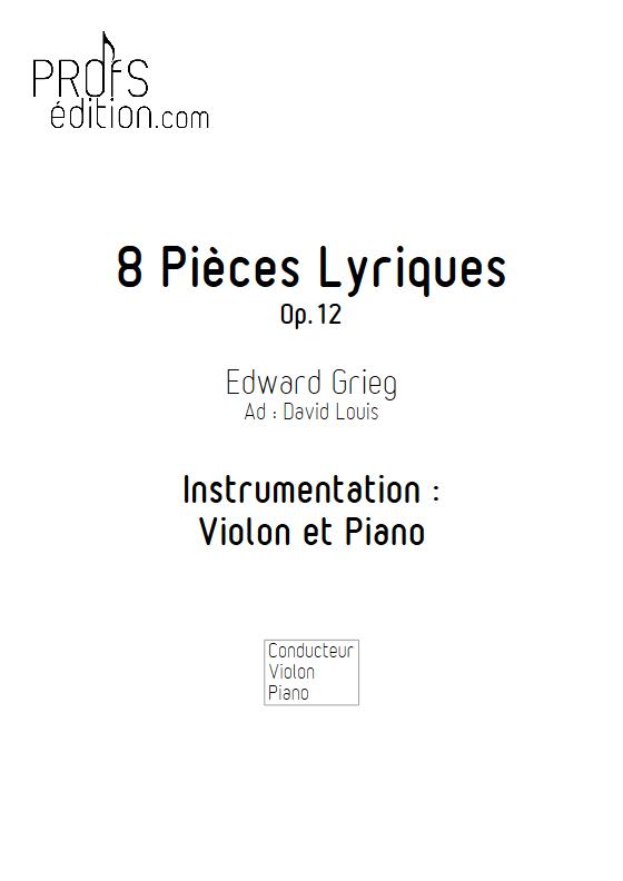 Pièces Lyriques Op.26 - Duo Violon et Piano - GRIEG E. - page de garde