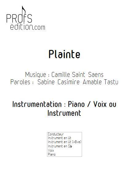 Plainte - Piano Voix (ou instrument) - SAINT-SAENS C. - page de garde