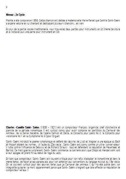 Plainte - Piano Voix (ou instrument) - SAINT-SAENS C. - Fiche Pédagogique