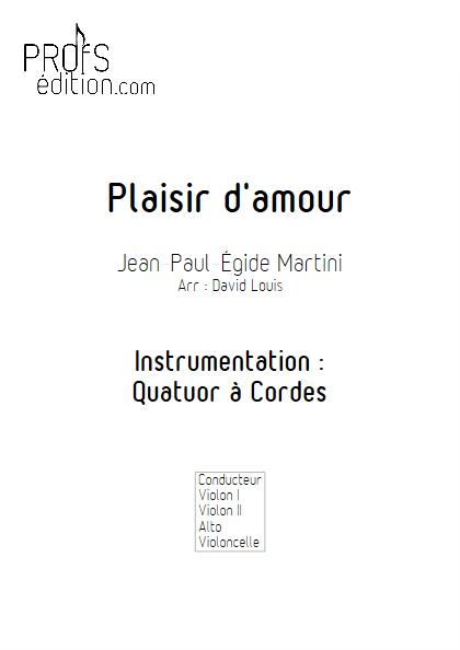 Plaisir d'Amour - Quatuor à Cordes- MARTINI J-P-E - page de garde
