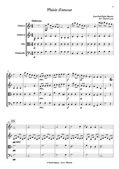 Plaisir d'Amour - Quatuor à Cordes- MARTINI J-P-E - Partition