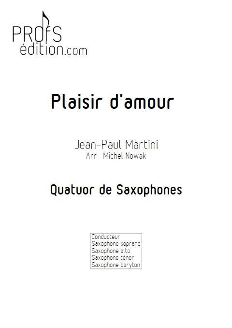 Plaisir d'Amour - Quatuor de Saxophones - MARTINI J-P-E - page de garde