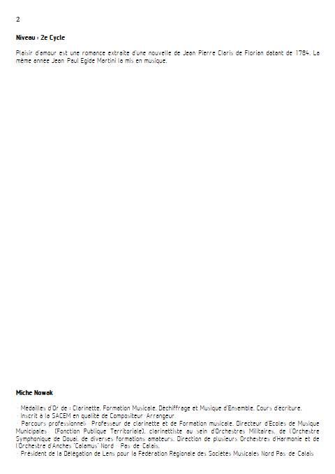 Plaisir d'Amour - Quatuor de Saxophones - MARTINI J-P-E - Fiche Pédagogique