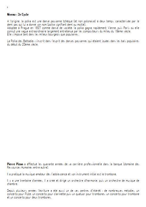 Polka des battadies - Orchestre d'Harmonie - PIZON P. - Fiche Pédagogique