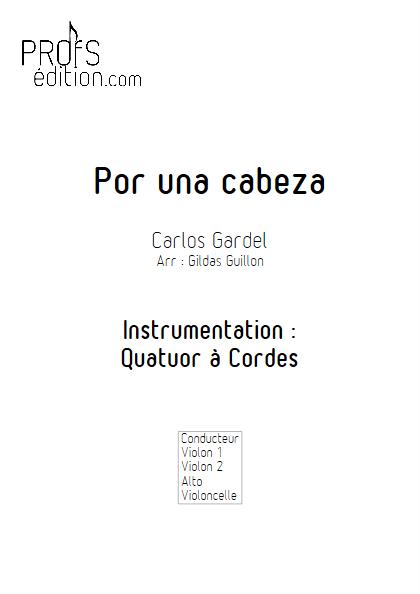 Por Una Cabeza - Quatuor à Cordes - GARDEL C. - page de garde