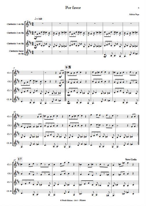 Por Favor - Quatuor de Clarinettes - VEYS A. - app.scorescoreTitle