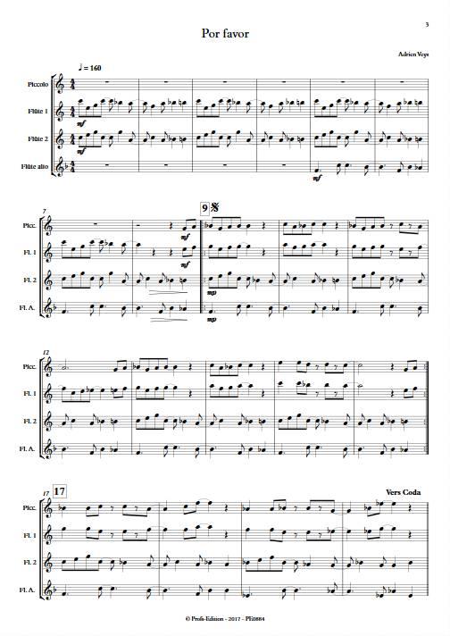 Por Favor - Quatuor de Flûtes - VEYS A. - Partition