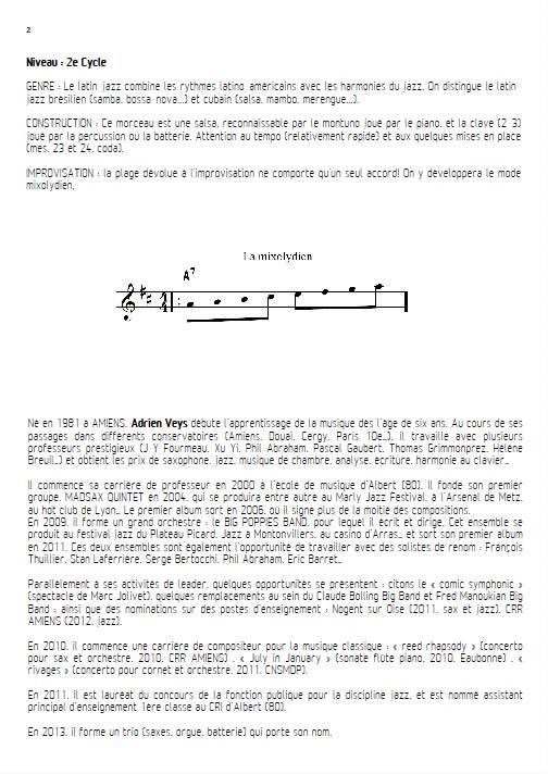 Por Favor - Quatuor de Saxophones - VEYS A. - Fiche Pédagogique