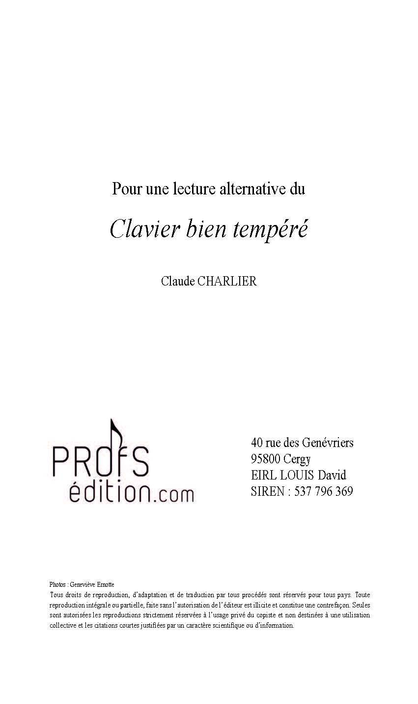 Pour une lecture alternative du Clavier Bien Tempéré - Analyse - CHARLIER C. - page de garde