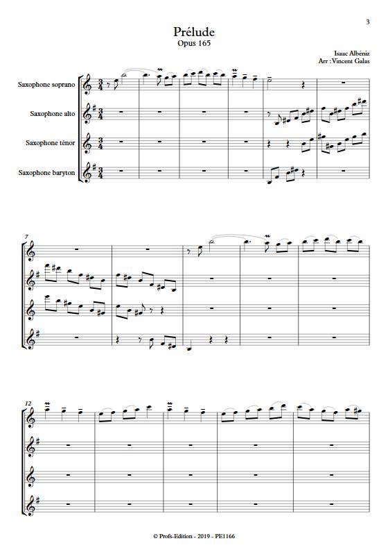 Prélude - Quatuor de Saxophones - ALBENIZ I. - Partition