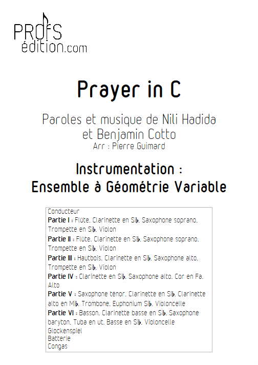 Prayer in C - Ensemble Variable - Lilly Wood & the Prick - page de garde