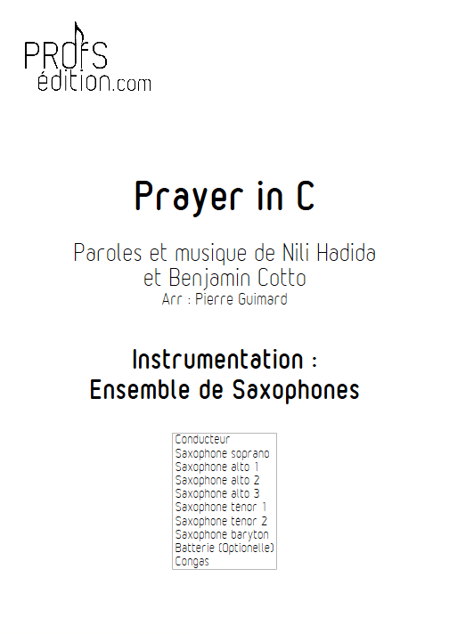 Prayer in C - Ensemble de Saxophones - page de garde
