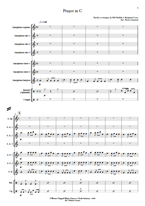 Prayer in C - Ensemble de Saxophones - app.scorescoreTitle