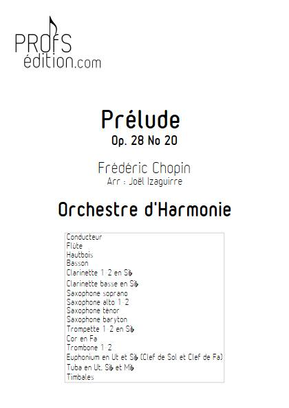 Prélude Op. 28 No 20 - Orchestre d'Harmonie - CHOPIN F. - page de garde