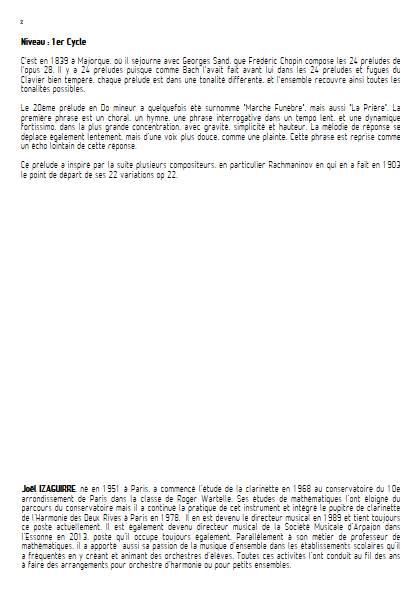 Prélude Op. 28 No 20 - Orchestre d'Harmonie - CHOPIN F. - Fiche Pédagogique