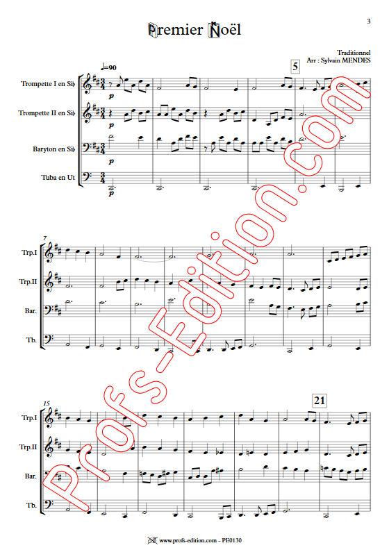 Premier Noël - Quatuor Cuivres - TRADITIONNEL - Partition
