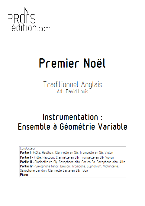 Premier Noël - Ensemble à Géométrie Variable - TRADITIONNEL ANGLAIS - page de garde
