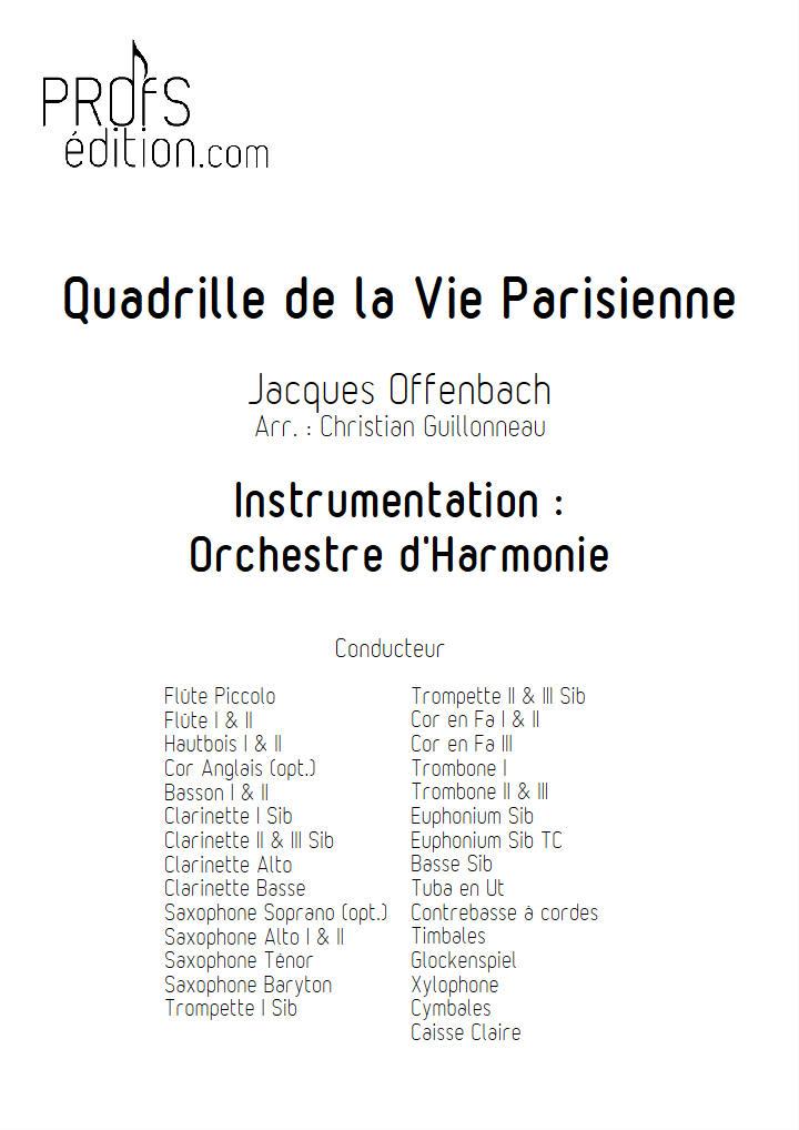 Quadrille de la vie parisienne - Orchestre Harmonie - OFFENBACH J. - page de garde
