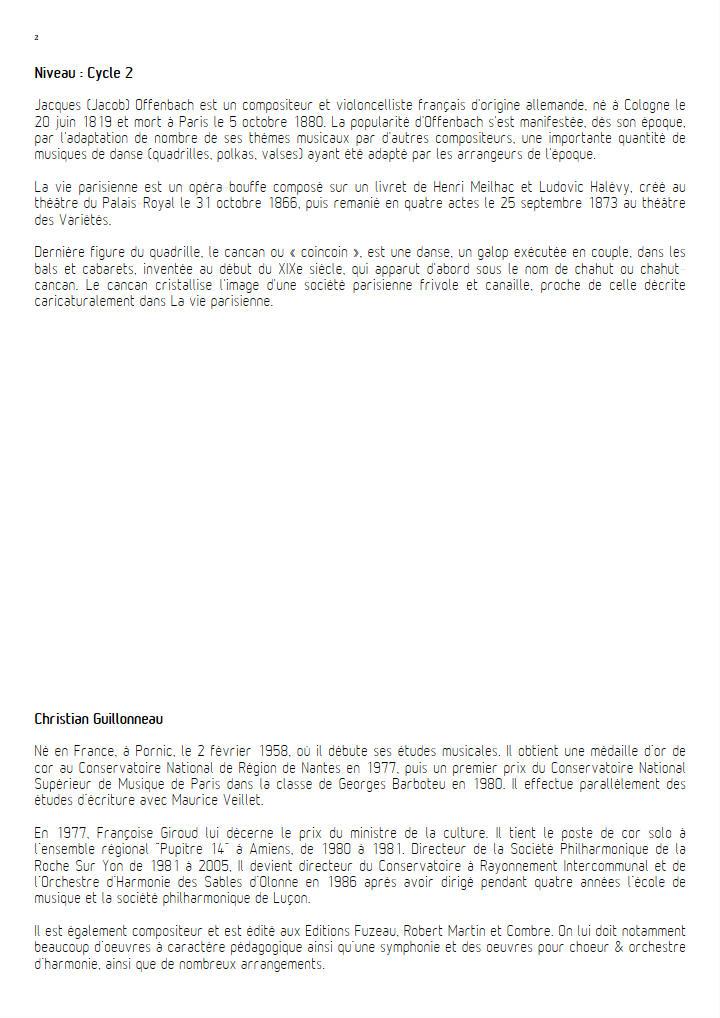 Quadrille de la vie parisienne - Orchestre Harmonie - OFFENBACH J. - Fiche Pédagogique
