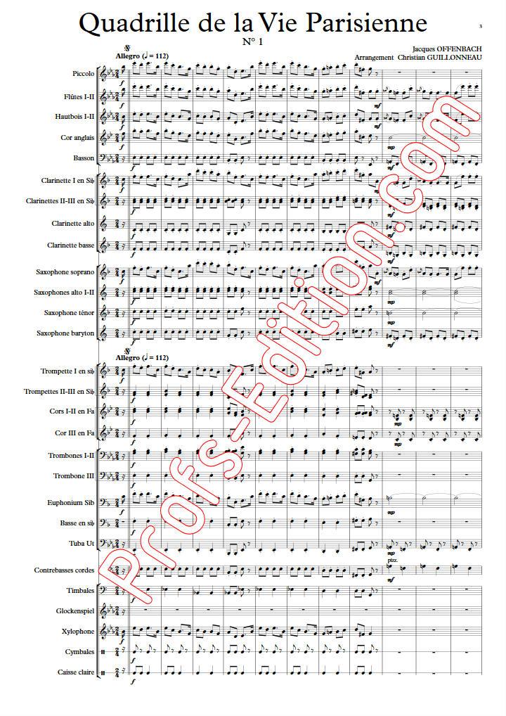 Quadrille de la vie parisienne - Orchestre Harmonie - OFFENBACH J. - app.scorescoreTitle