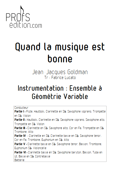 Quand la musique est bonne - Ensemble à Géométrie Variable - GOLDMAN J.J. - page de garde