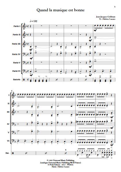 Quand la musique est bonne - Ensemble à Géométrie Variable - GOLDMAN J.J. - Partition