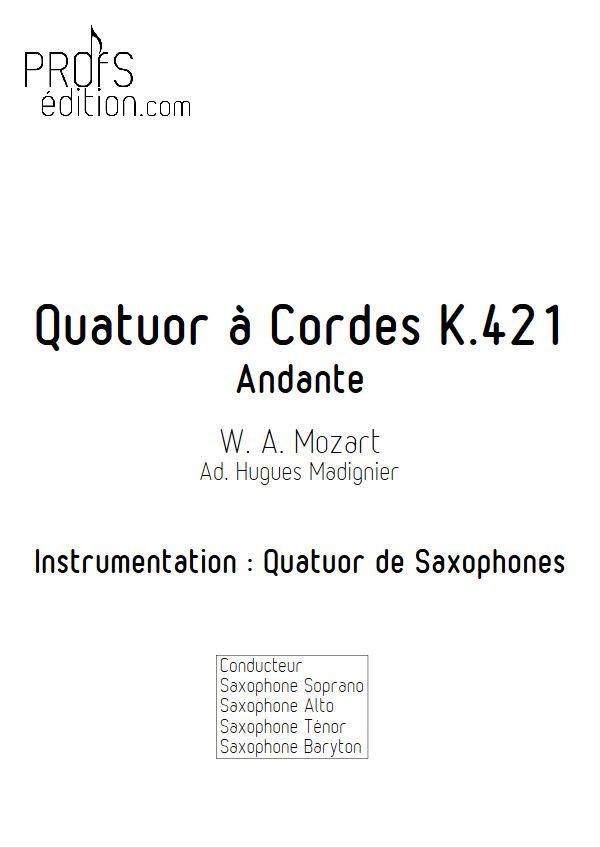 Quatuor KV 421 - Quatuor Saxophones - MOZART W. A. - page de garde