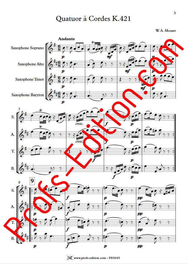Quatuor KV 421 - Quatuor Saxophones - MOZART W. A. - app.scorescoreTitle